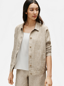 Washed Organic Linen Delave Classic Collar Jacket