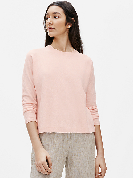 Organic Linen Crepe Stretch Crew Neck Box Top