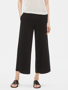 Washable Stretch Crepe Wide Leg Ankle Pant