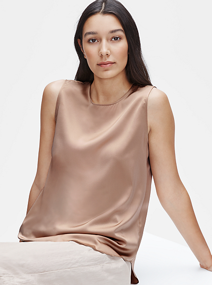 Stretch Silk Charmeuse Round Neck Tank