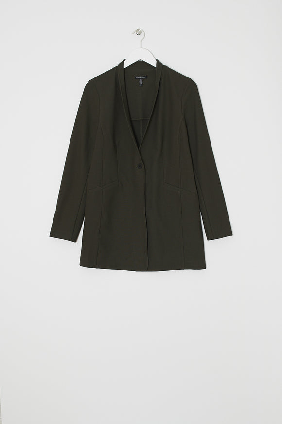 Stretch Crepe Stand Collar Jacket