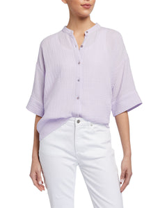 Mandarin Collar Elbow Sleeve Boxy Shirt