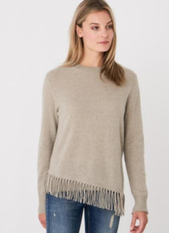 Cashmere Pullover Crew Neck with Fringe by Repeat