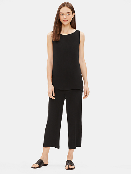 Silk Georgette Crepe Bateau Neck Long Shell by Eileen Fisher
