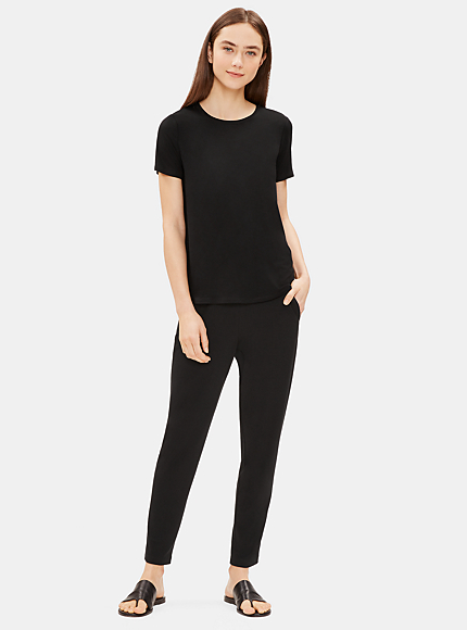 Viscose Jersey Slim Ankle Slouchy Pant by Eileen Fisher