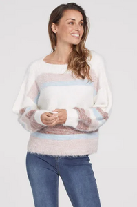 Eyelash Yarn Stripe Boatneck Sweater
