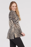 Animal Print Brushed Knit Cowl Tunic