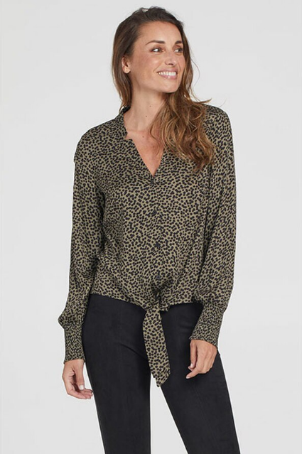 Printed Challis Vneck Tie Bottom Blouse