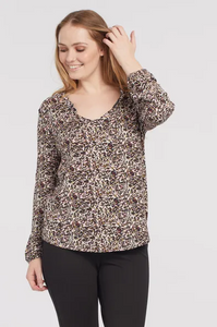 Printed Jersey Vneck Top