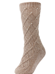 Pearl Lattice Plush Lined Slipper Socks