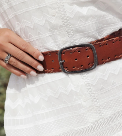 Greta Woven Wide Leather Belt