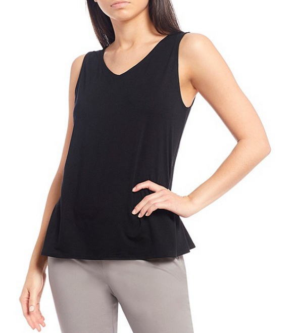 Fine Tencel Jersey V-Neck Shell by Eileen Fisher