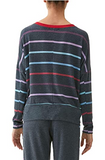 Madison Rainbow Stripe Staggered Hem Top