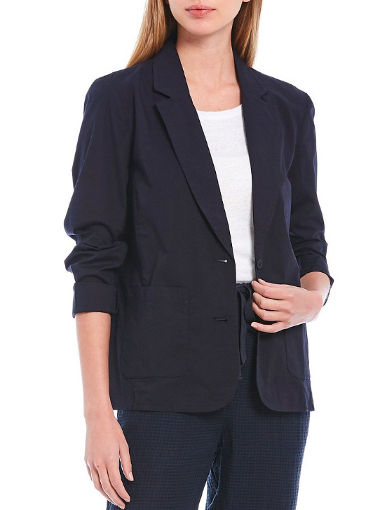 Organic Cotton Stretch Poplin Shaped Jacket by  Eileen Fisher