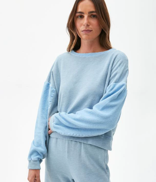 Ezra Cozy Terry Cropped Sweatshirt