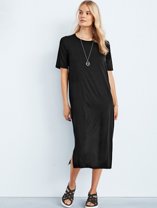 Tencel Organic Cotton Fleece Crew Neck Dress by Eileen Fisher