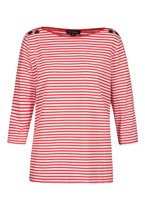 Stripe Jersey 3/4 Sleeve Tee by Tribal