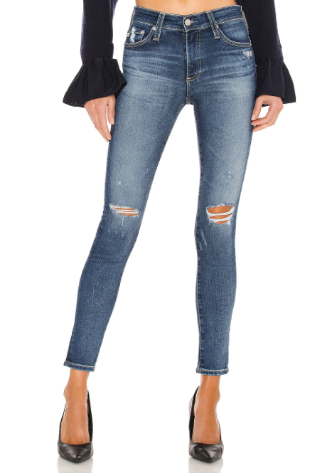 Farrah High Waist Skinny with Knee Rips by AG