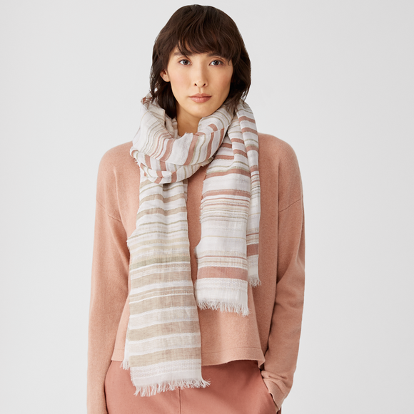 Airy Sheer Stripe Scarf by Eileen Fisher