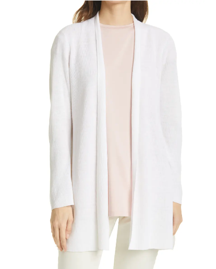 Organic Linen Cotton Relaxed Cardigan by Eileen Fisher