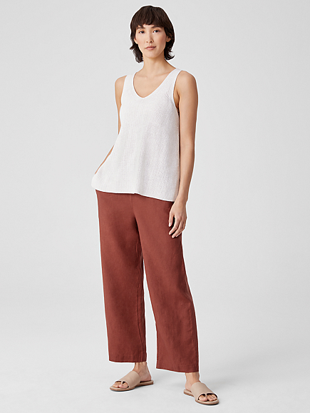 Organic Linen Ankle Straight Leg Pant by Eileen Fisher
