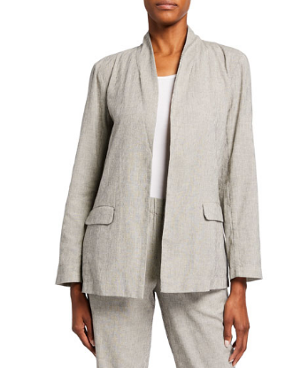 Organic Linen High-Collar Ticking Stripe Shaped Jacket by Eileen Fisher
