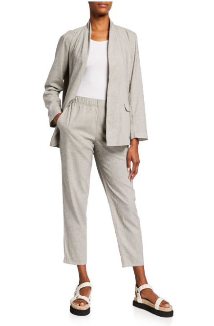 Organic Ticking Stripe Tapered Ankle Pant by Eileen Fisher