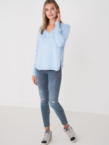Organic Cotton Blend V-Neck Pullover by Repeat