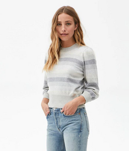 Dolly Striped Puff Sleeve Sweater by Michael Stars