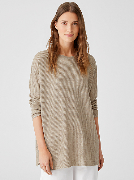 Organic Linen Delave Crew Neck Tunic by Eileen Fisher