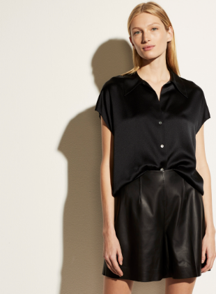 Silk Shaped Collar Cap Sleeve Blouse by Vince