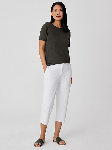 Organic Cotton Ponte Tapered Capri Pant by Eileen Fisher