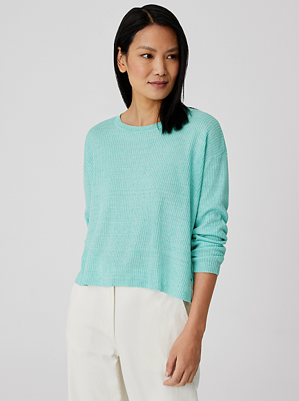Organic Linen Delave Cropped Round Neck Top by Eileen Fisher