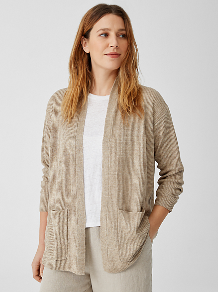Organic Linen Delave High Collar Cardigan by Eileen Fisher