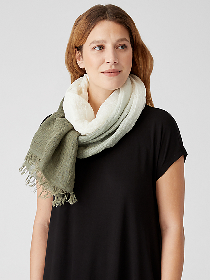 Organic Linen Cotton Ombre Scarf by Eileen Fisher