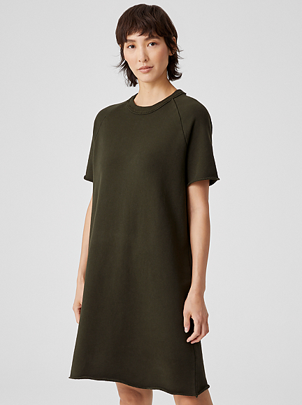 Organic Cotton French Terry Crew Neck Dress by Eileen Fisher