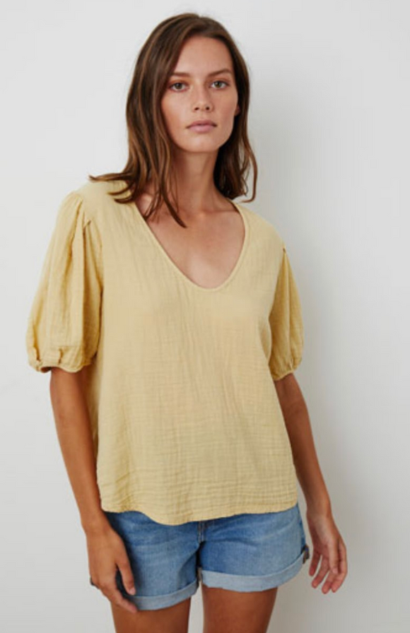 Cotton Slub Mix Scoop Neck Tee by Velvet