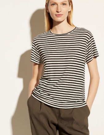 Midi Stripe Short Sleeve Crew by Vince