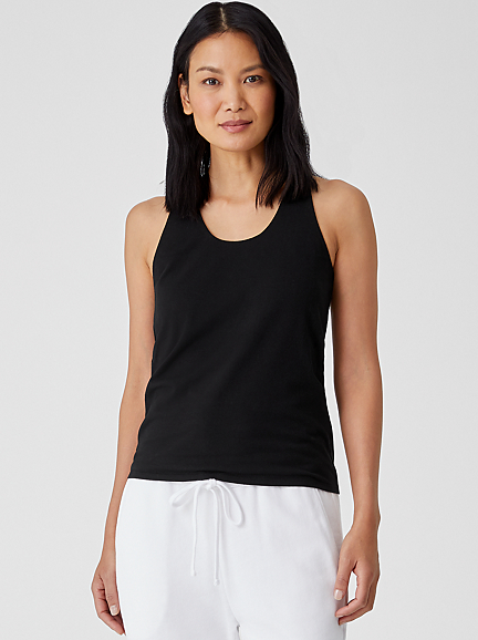 Organic Cotton Stretch Jersey Racerback Tank by Eileen Fisher