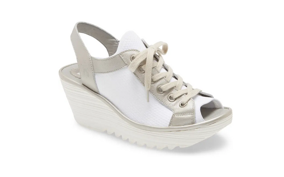 Yedu Lace-Up Wedge Sandal by Fly London