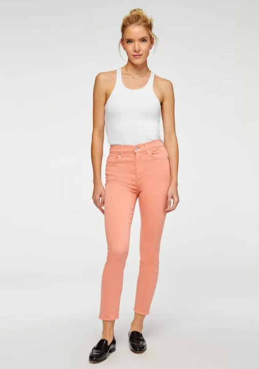 High Waist Ankle Skinny in Rose