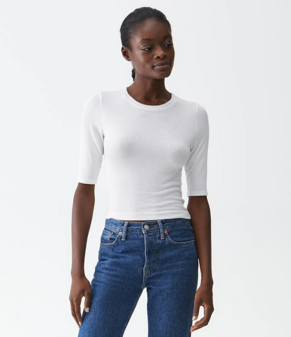 Cropped Rib Tee by Michael Stars