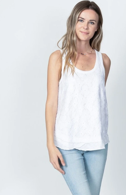 Slub and Lace Sleeveless Top by Dylan