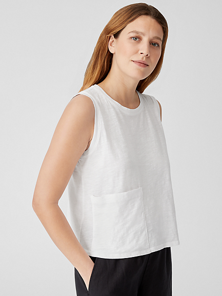 Slubby Organic Cotton Jersey Crew Neck Shell by Eileen Fisher