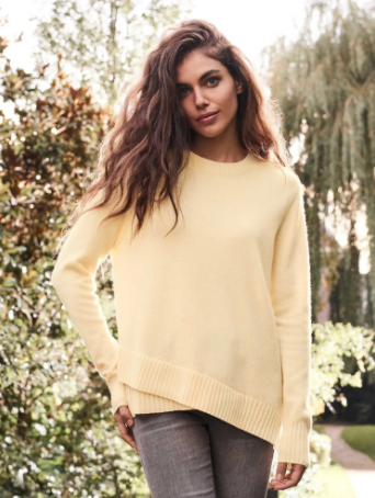 Cashmere Crew with Asymmetrical Hem by Repeat