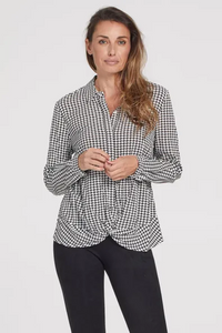 Stretch Challis Long Sleeve Shirt w/ Twist Detail