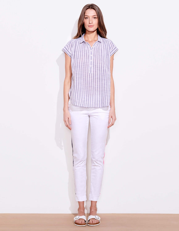 Stripe Short Sleeve Henley by Sundry