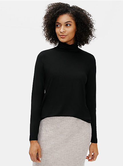 Fine Tencel Jersey Scrunch Neck Top
