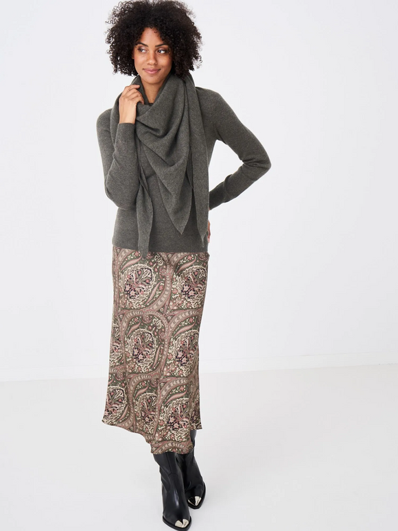 Paisley Printed Silk Bias Skirt