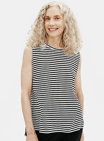 Organic Cotton Jersey Striped Crew Neck Tank by Eileen Fisher